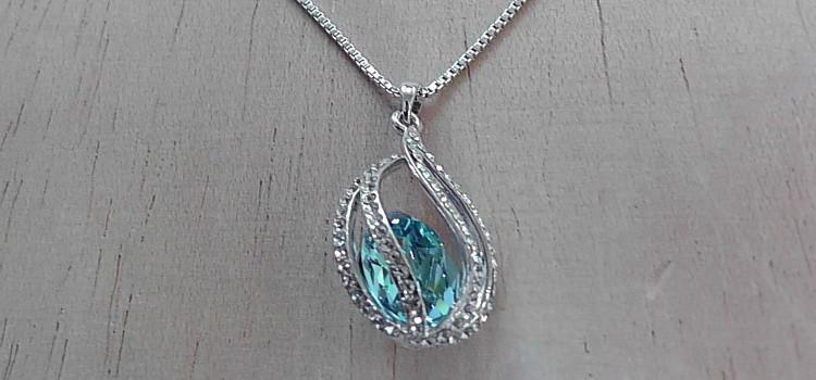 FANCYDELI® Damen Halskette mit SWAROVSKI ELEMENT Kristall Anhänger