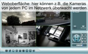 Per Weboberfläche k¨ønnen z.B. die Kameras von jedem PC im Netzwerk überwacht werden.