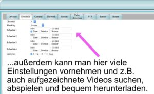 In der Weboberfläche kann man Einstellungen vornehmen und aufgezeichnete Videos bequem herunterladen.