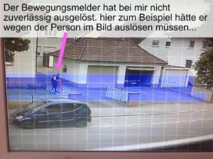 Nur der Bereich des Sichtfelds der Kamera wird bei der Bewegungsmeldung berücksichtigt